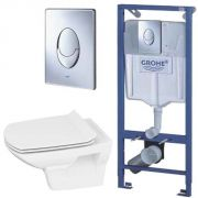 Инсталляция Grohe Rapid SL 38721001 + унитаз Cersanit Carina Clean On slim с сиденьем <br /> <span style='color:#e7050f; font-weight: bold;'>Акция до 20 августа!</span>