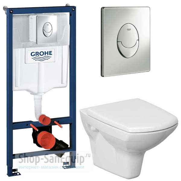 Инсталляция Grohe Rapid SL 38721001 + унитаз Cersanit Carina Clean On с сиденьем